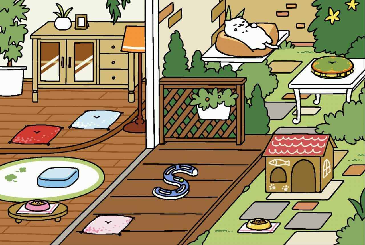 まんぞくさん×ビッグクッション♪ しかも庭先独り占めで大満足ですね。 しかも高級かりかりを無視して来てくれていますね!
